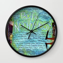 Northwest by Seattle Mixed Media Artist Mary Klump Wall Clock