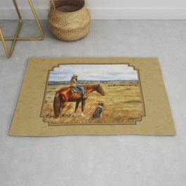 Young Cowgirl on Cattle Horse Rug