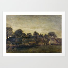 Farming Village at Twilight Art Print