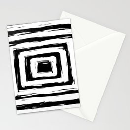 Minimal Black and White Square Rectangle Pattern Stationery Cards