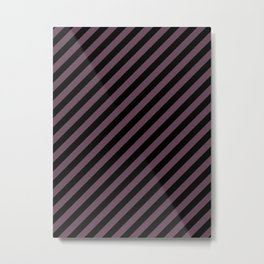 Eggplant Violet and Black Diagonal RTL Stripes Metal Print