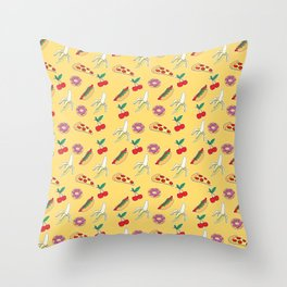 Modern yellow red fruit pizza sweet donuts food pattern Throw Pillow