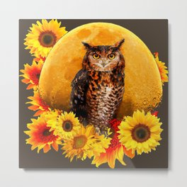 NIGHT OWL MOON SUNFLOWER ART Metal Print