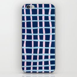 Pink and Blue Grid iPhone Skin