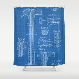 Hammer Patent - Handyman Art - Blueprint Shower Curtain