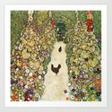 Gustav Klimt Garden Path With Chickens by colorfuldesigns