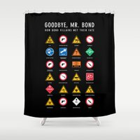 james bond Shower Curtains featuring Goodbye, Mr. Bond by Preston Porter