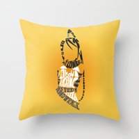 soul eater Throw Pillows featuring Tsubaki Nakatsukasa soul eater by Rebecca McGoran
