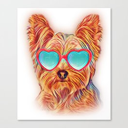 Yorkshire Terrier Colorful Yorkie Neon Dog Sunglasses Canvas Print
