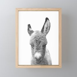 Black and White Baby Donkey Framed Mini Art Print