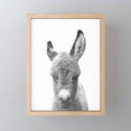 Black and White Baby Donkey Framed Mini Art Print