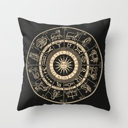 Vintage Zodiac & Astrology Chart | Charcoal & Gold Throw Pillow