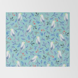 Blue Bird in Watercolour Throw Blanket