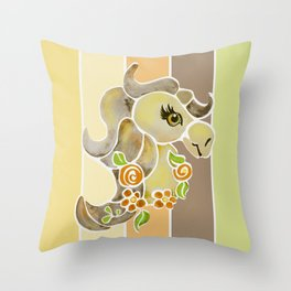 Horse Pony Floral Watercolor // Yellow Brown Barn Stripe Background Throw Pillow
