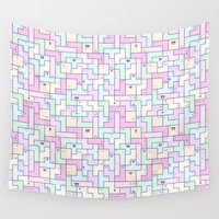 kawaii Wall Tapestries featuring Kawaii Tetris by KiraKiraDoodles