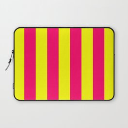 Bright Neon Pink and Yellow Vertical Cabana Tent Stripes Laptop Sleeve