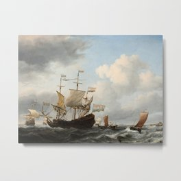 Willem van de Velde the Younger - A Dutch Flagship Coming to Anchor Metal Print