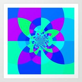 Orchid Aqua Turquoise Kaleidoscope Art Print