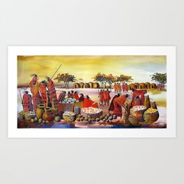 A painting of Barter Trade Art Print