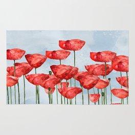 Poppyfield poppies poppy blue sky- watercolor artwork Rug