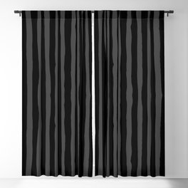 Black and Grey Stripe Blackout Curtain