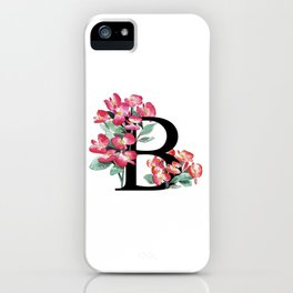 Letter 'B' Begonia Flower Monogram Typography iPhone Case