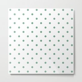 Polka Dots Pattern: Sea Foam Green Metal Print