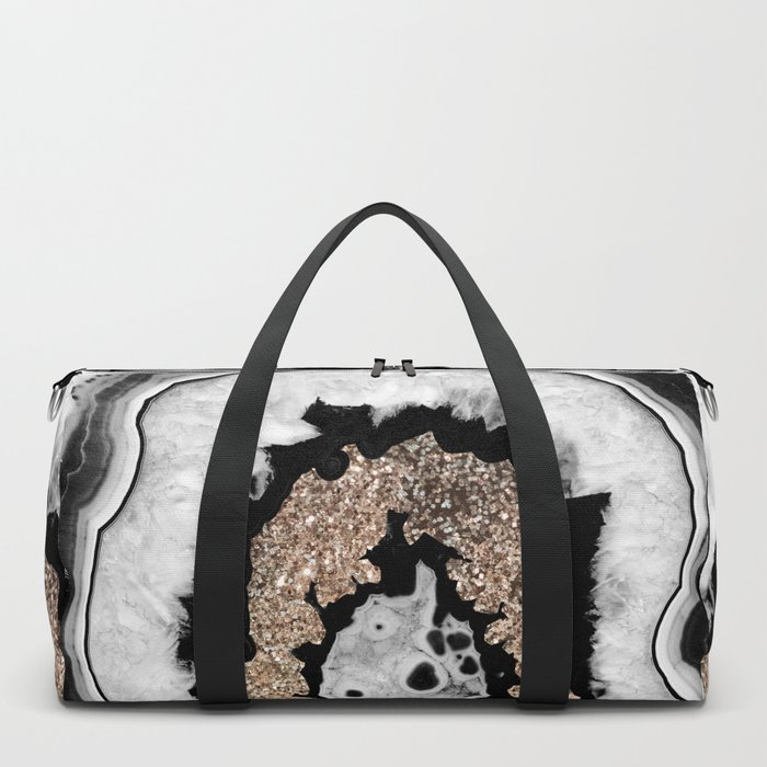 Gray Black White Agate with Gold Glitter #1 #gem #decor #art #society6 Duffle Bag