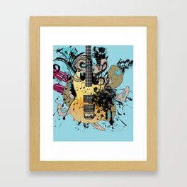 Grunge modern guitar Framed Art Print