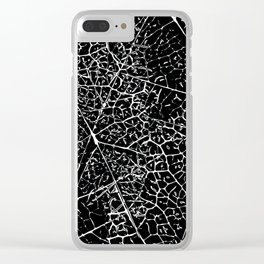 Black and white leaf pattern Clear iPhone Case