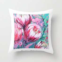 Bright Pink Abstract Proteas Throw Pillow