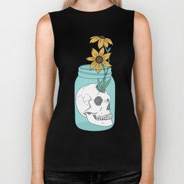 Skull in Jar with Flowers Biker Tank