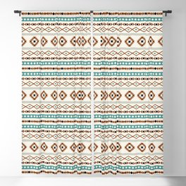 Aztec Teal Terracotta Black Cream Mixed Motifs Pattern Blackout Curtain