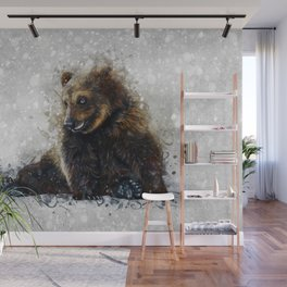 Brown Bear In The Snow Wall Mural