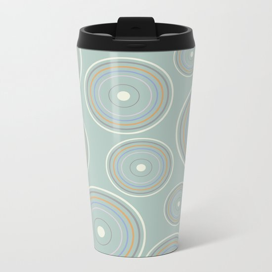 CONCENTRIC CIRCLES IN GREEN (abstract pattern) Metal Travel Mug