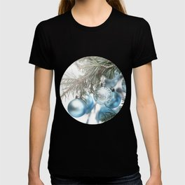 Blue Christmas baubles on tree T-shirt