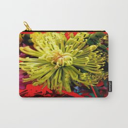 Red Abstracted Yellow Spider Mum Floral Design Carry-All Pouch