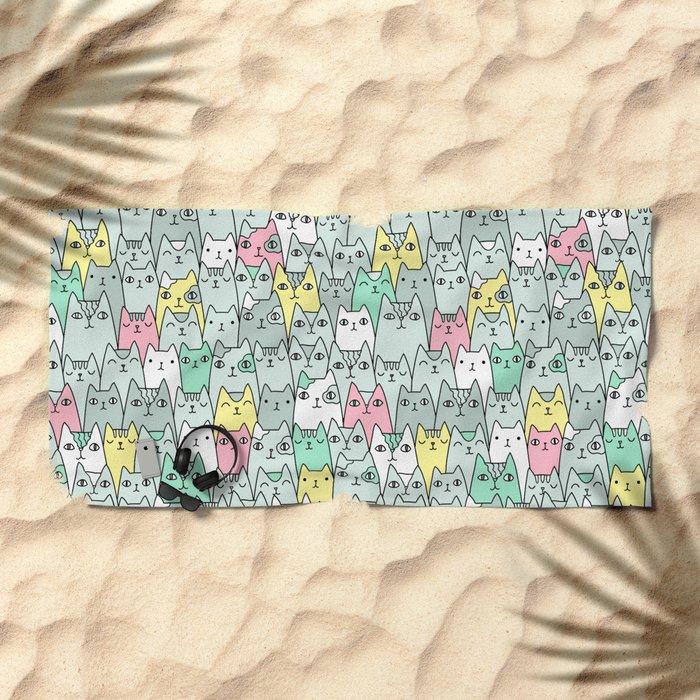 Cute cats family Beach Towel
