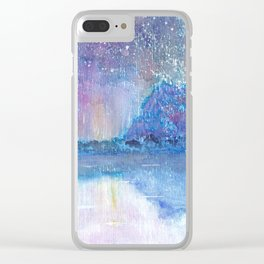 Watercolor Blue Island Clear iPhone Case