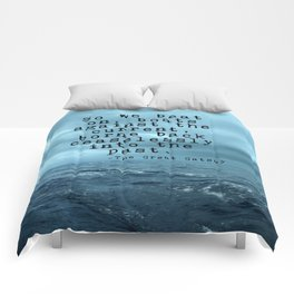 So we beat on - Gatsby quote on the dark ocean Comforters