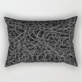 Black and white scribbled lines pattern Rectangular Pillow