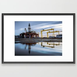 Harland and Wolff cranes with oil rig Framed Art Print