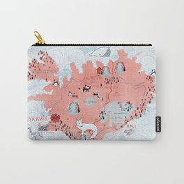 Illustrated Map of Iceland Carry-All Pouch