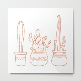 Cacti in pots illustration - white and terracotta Metal Print