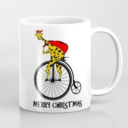 Giraffe on a bike Santa Claus Coffee Mug