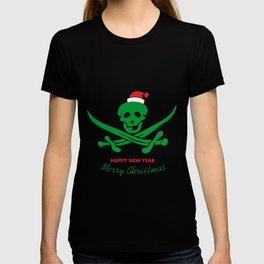 Creepy piratical skeleton Marry Christmas flag T-shirt