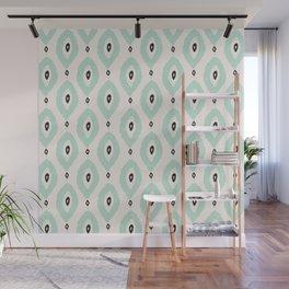 Bohemian Ikat - Dark gray, light blue and cream pattern Wall Mural