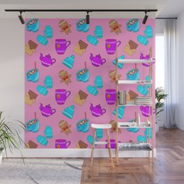 Sweet gingerbread men cookies, chocolate bars, hot cocoa with marshmallows, tea pots winter pattern Wall Mural