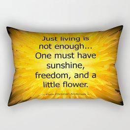 'Dandelion Fire' with Hans Christian Andersen 'Just living..' quotation Rectangular Pillow