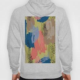 Modern coral brown blue black abstract brushstrokes Hoody